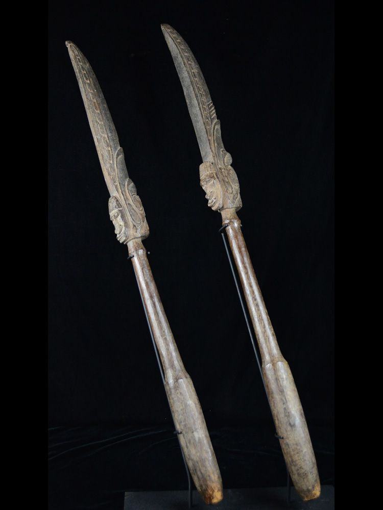 Superb Old Middle Sepik Garamut Pounder Pair –B17