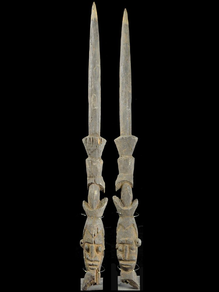Stone Carved Janus-faced Spear Point, Abelam People - #8251